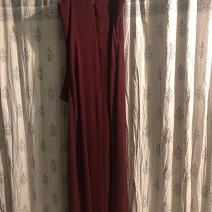 Express Dresses - Maroon maxi dress with slit